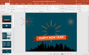 animated happy new year city fireworks powerpoint template