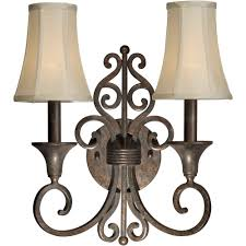 Forte Lighting Wall Sconce Talista 2 Light Black Cherry Sconce With Fabric Shades Cli Frt2327