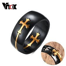 stainless steel rings for men fashion separable cross ring for men woman black color stainless