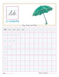 cursive small letter u practice worksheet download free cursive