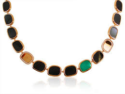 black jade necklace images Roberto coin 18k rose gold afrikan agate black jade diamond jpg