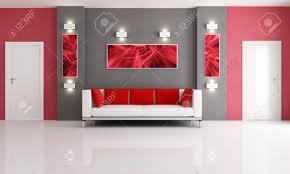 Wohnzimmer T Moderne Couch In Einem Roten Und Grauen Wohnzimmer Mit Zwei Tür