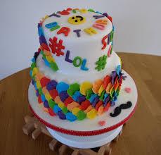 hashtag emoji cake with rainbow petals cakecentral com