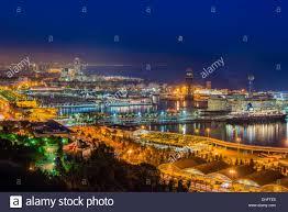 barcelona city view night view over port vell harbor from montjuïc barcelona catalonia