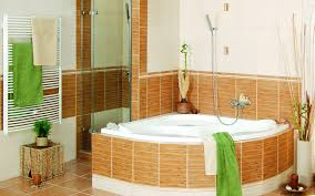 Corner Tub Bathroom Ideas by Natural Bathroom Design With Corner Bath Tub And Oaks Plank