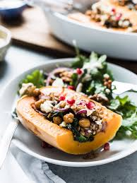the thanksgiving table stuffed butternut squash with farro chickpeas and kale kitchen