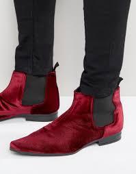 asos chelsea boots in burgundy velvet in red for men lyst