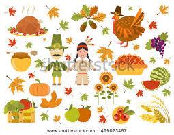 flat style happy thanksgiving turkey illustration free