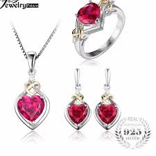 ruby necklace earrings images Free shipping on the beautiful created red ruby love knot set jpg