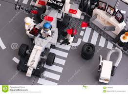 lego speed champions mercedes lego mp4 29 race car in mclaren mercedes pit stop editorial stock