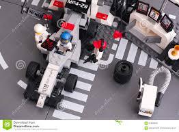 lego speed champions mclaren lego mp4 29 race car in mclaren mercedes pit stop editorial stock