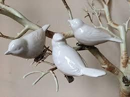 set of 3 white ceramic clip on bird ornaments dove vintage