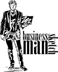 sketch of fashion handsome man with laptop vector illustration