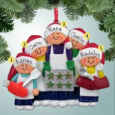chef ornaments baking cookies family 5 personalized free