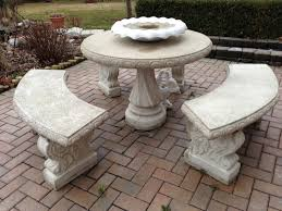 Cement Patio Table by Stone Patio Furniture Home Design Ideas And Inspiration