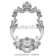 baroque rococo mirror frame decor vector luxury rich