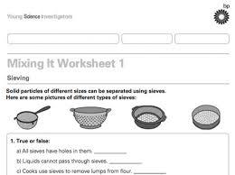 separating mixtures worksheet worksheets