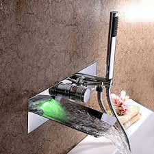 Tub Faucet With Handheld Shower Chrome Finish Color Changing Wall Mount Tub Faucet With Hand