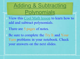 adding u0026 subtracting polynomials what is a polynomial view this