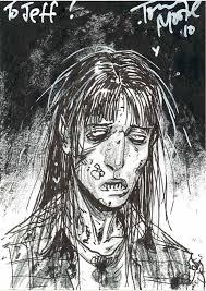 the walking dead zombie lori grimes sketch card by tony moore