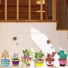 online buy wholesale night garden wall stickers from china night garden flower bee pot plant culture decal wall stickers pvc diy living room bedroom home art