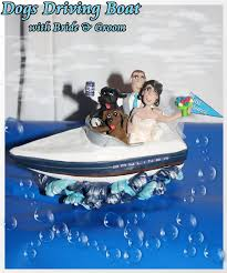 boat cake topper wedding cake topper dog driving boat with and groom