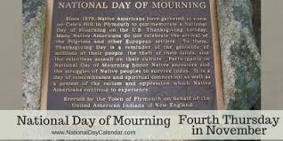 national day of mourning fourth thursday in november national