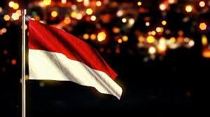 Indonesian Flag Animation Indonesia Monaco National Flag City Light Night Bokeh Loop