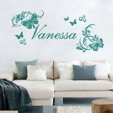 customer made personalised name vine butterflies flowers wall art customer made personalised name vine butterflies flowers wall art stickers baby decor you choose name and color in wall stickers from home garden on
