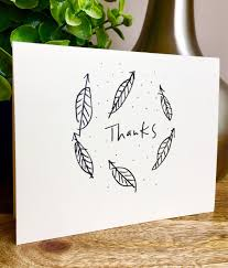leaf card thank you card set unique style simple thank you card