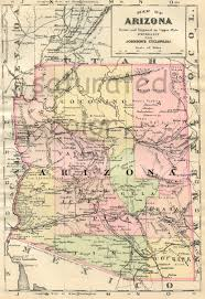 Map Phoenix Arizona by Arizona Map Original 1895 Antique Map Vintage Map Of