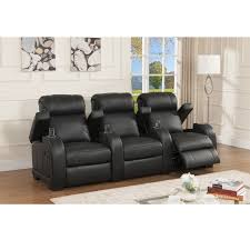 stylish recliner cooper three seat black top grain leather recliner home theater
