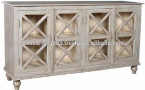 antique wooden sideboard buffet with four door white gray
