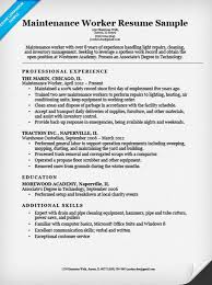 Resume For Work Experience Sample by Maintenance Worker Resume Sample Resume Companion