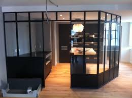 verriere dans une cuisine menuiserie acier inox verrière intérieure serrurerie métallerie 56
