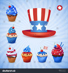 Flag Cakes Lovely Cakes Us Independence Day Colors Stock Vector 200762774