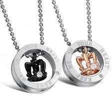 valentines day necklace polished stainless steel matching 2pcs king crown pendant