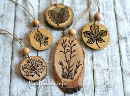 wood craft for autumn wood burned ornaments for the fall