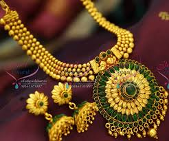 necklace pendant design gold images Nl3694 kempu style beads leaf broad pendant design gold plated JPG