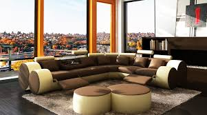 Sectional Sofa With Bed by 3087 Modern Brown And Beige Leather Sectional Sofa And Coffee Table