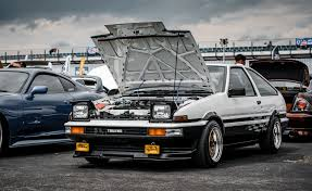 stanced toyota corolla exhausted photography