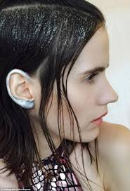 hair style and gap between chin and ear lobe new trend for metallic ear makeup takes runways and instagram by