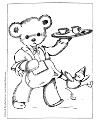 teddy bear coloring pages free printable waiter teddy bear