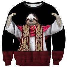 halloween sweaters sloth pope sweater shelfies