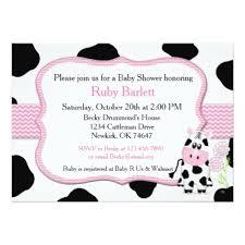 cow print pink baby shower or birthday invitation zazzle