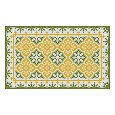 mountain vinyl floor mat yellow green runner