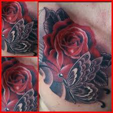 roses with grey butterfly tattooshunt com
