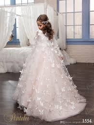 kids wedding dresses cheap pink gown flower girl dresses with sleeves 2016