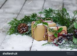 brown paper packages tied string christmas stock photo 334940126
