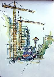 my space needle obsession sketch away travels with my sketchbook